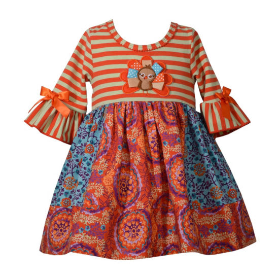 Bonnie Jean Long Sleeve Mix Prints Turkey Dress - Baby Girls