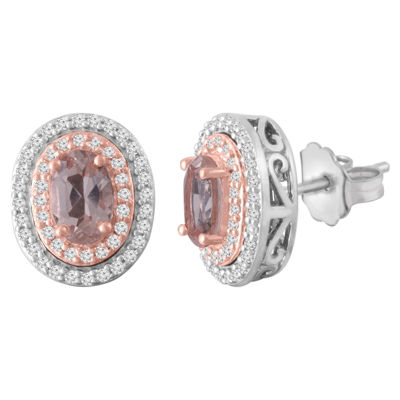 1/4 CT. T.W. Champagne Morganite 10K White Gold 11mm Stud Earrings