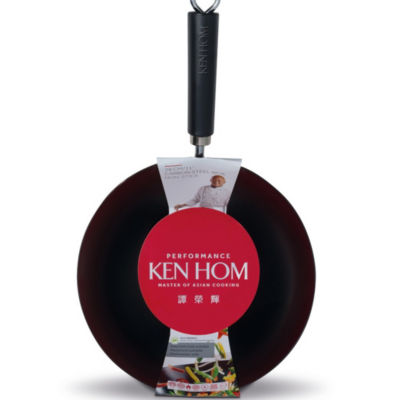 "Ken Hom Ken Hom 11"" Carbon Steel Wok Steel Dishwasher Safe Non-Stick Wok"
