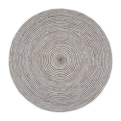 St. Croix Trading Natural Jute Cotton Racetrack Round Rugs