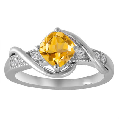 Womens Yellow Citrine Sterling Silver Cocktail Ring