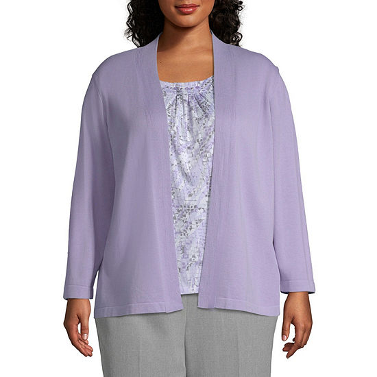 Alfred Dunner 3/4 Sleeve Round Neck Knit Blouse-Plus