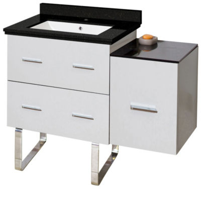 37.75-in. W Floor Mount White Vanity Set For 1 Hole Drilling Black Galaxy Top White UM Sink