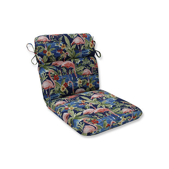 Pillow Perfect Flamingoing Lagoon Rounded Corners Patio Chair Cushion