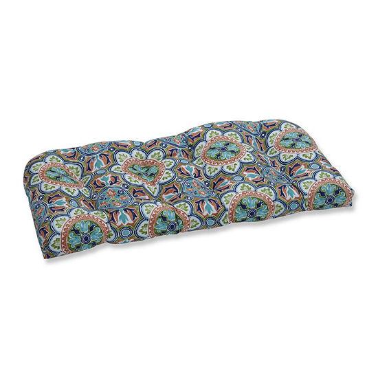 Pillow Perfect Lagoa Tile Flamingo Wicker Patio Loveseat Cushion