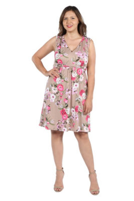 24Seven Comfort Apparel Lauren Brown and Pink Floral Empire Waist Dress - Plus