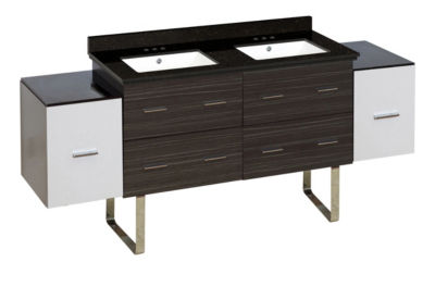 76-in. W Floor Mount White-Dawn Grey Vanity Set For 3H4-in. Drilling Black Galaxy Top White UM Sink