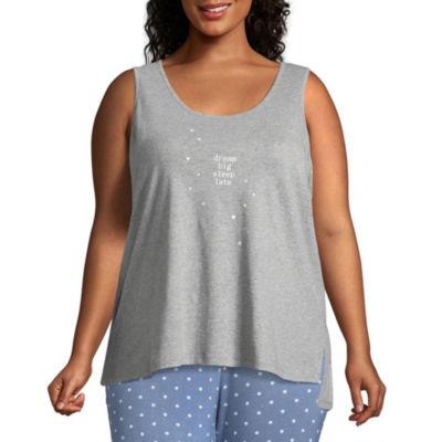 Ambrielle Sleeveless Scoop Neck Pajama Top-Plus