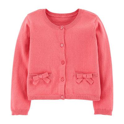 Carter's Girls Round Neck Long Sleeve Cardigan - Toddler