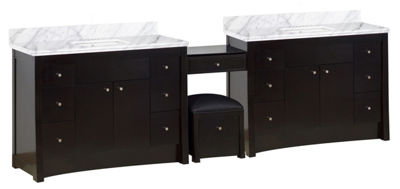 116.45-in. W Floor Mount Distressed Antique WalnutVanity Set For 3H4-in. Drilling Bianca Carara TopWhite UM Sink