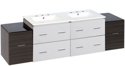 74.5-in. W Wall Mount White-Dawn Grey Vanity Set For 3H8-in. Drilling