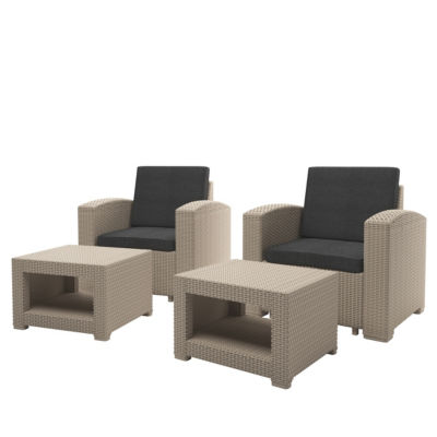 CorLiving 4pc All-Weather Chair and Ottoman Patio Set