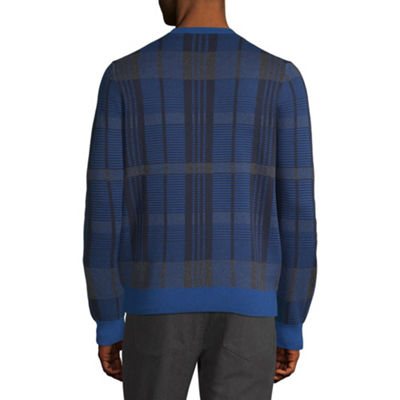 Axist Long Sleeve Plaid Crew Neck Sweater