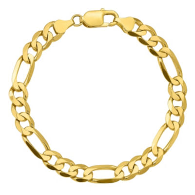 10K Gold 8 Inch Solid Figaro Chain Bracelet