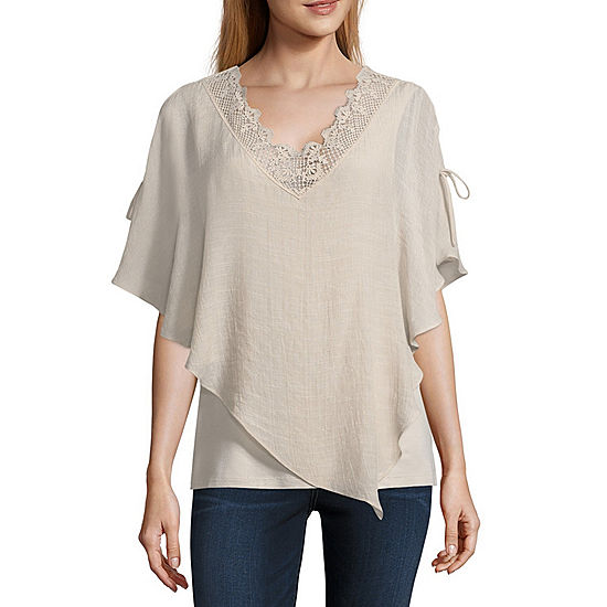 910509cc2a0f8 Alyx Short Sleeve V Neck Knit Blouse - JCPenney