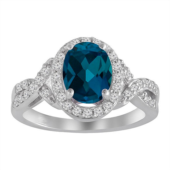 Womens Blue Topaz Sterling Silver Halo Cocktail Ring