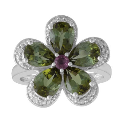 Womens Diamond Accent Green Tourmaline Sterling Silver Flower Cocktail Ring