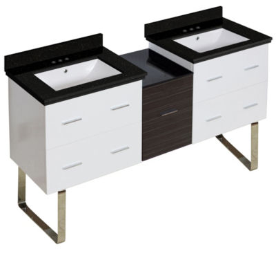 61.5-in. W Floor Mount White-Dawn Grey Vanity SetFor 3H4-in. Drilling Black Galaxy Top White UM Sink