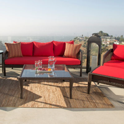 Athens Sunbrella Red Outdoor Wicker 7 Piece Patio Seating Set