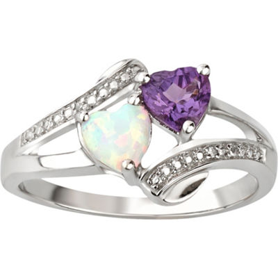 Womens Diamond Accent Purple Amethyst Sterling Silver Heart Cocktail Ring