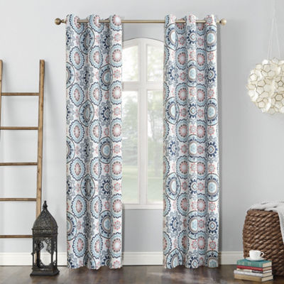 Sun Zero Nepal Global Print Blackout Grommet Curtain Panel