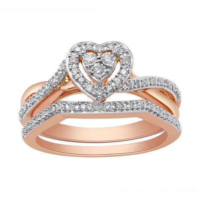 Surrounded by Love Womens 1/5 CT. T.W. Genuine White Diamond 14K Rose Gold Over Silver Bridal Set