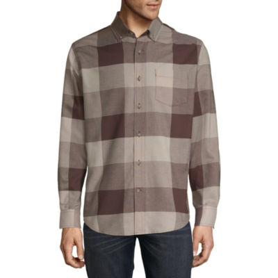 St. John's Bay Mens Long Sleeve Plaid Button-Front Shirt-Slim