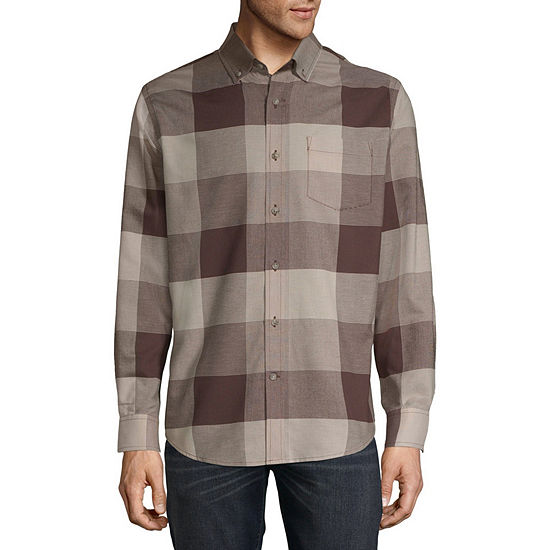 St Johns Bay Mens Long Sleeve Plaid Button Front Shirt Slim