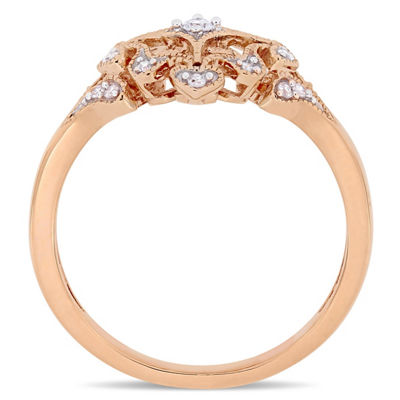 Womens 1/10 CT. T.W. Genuine White Diamond 10K Rose Gold Cluster Ring