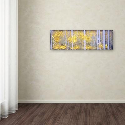 Trademark Fine Art Roderick Stevens PanorAspens Grey Forest Giclee Canvas Art