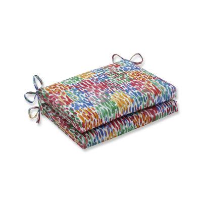 Pillow Perfect Set of 2 Make It Rain Zinnia Squared Corners Patio Seat Cushion