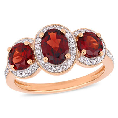 Womens 1/3 CT. T.W. Genuine Red Garnet 18K Rose Gold Over Silver Cocktail Ring