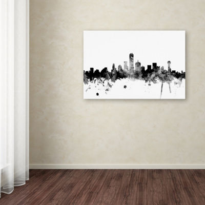 Trademark Fine Art Michael Tompsett Dallas Texas Skyline B&W Giclee Canvas Art