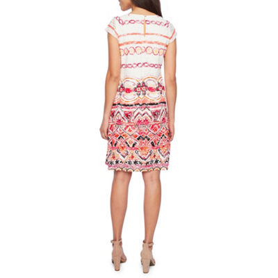 Ronni Nicole Short Sleeve Lace Bordered Shift Dress