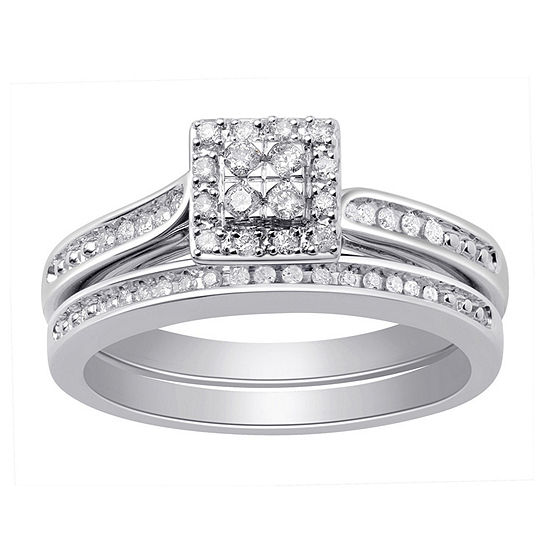 Surrounded by Love Womens 1/4 CT. T.W. Genuine White Diamond Sterling Silver Bridal Set