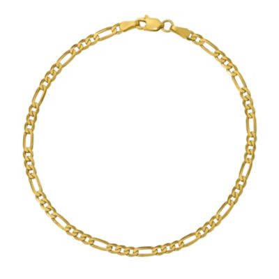 10K Gold 7 Inch Solid Figaro Chain Bracelet
