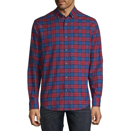 St. John's Bay Slim Mens Long Sleeve Plaid Button-Front Shirt