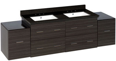 76-in. W Wall Mount Dawn Grey Vanity Set For 3H8-in. Drilling Black Galaxy Top White UM Sink