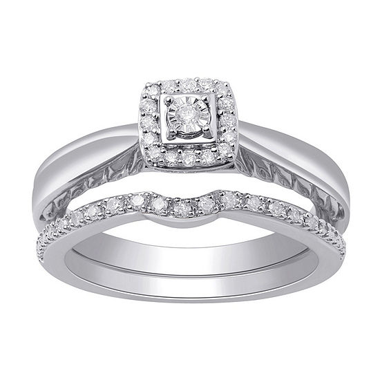 Surrounded by Love Womens 1/7 CT. T.W. Genuine White Diamond Sterling Silver Bridal Set