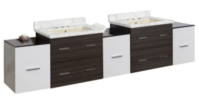 90-in. W Wall Mount White-Dawn Grey Vanity Set For3H8-in. Drilling Bianca Carara Top Biscuit UM Sink