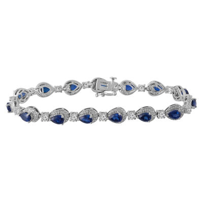 Womens 7 1/4 Inch Diamond Accent Blue Sapphire Sterling Silver Link Bracelet