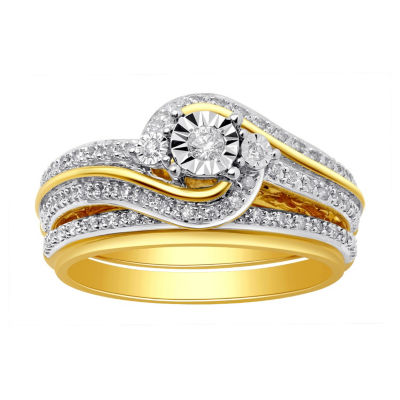 Surrounded by Love Womens 1/3 CT. T.W. Genuine White Diamond Sterling Silver Bridal Set
