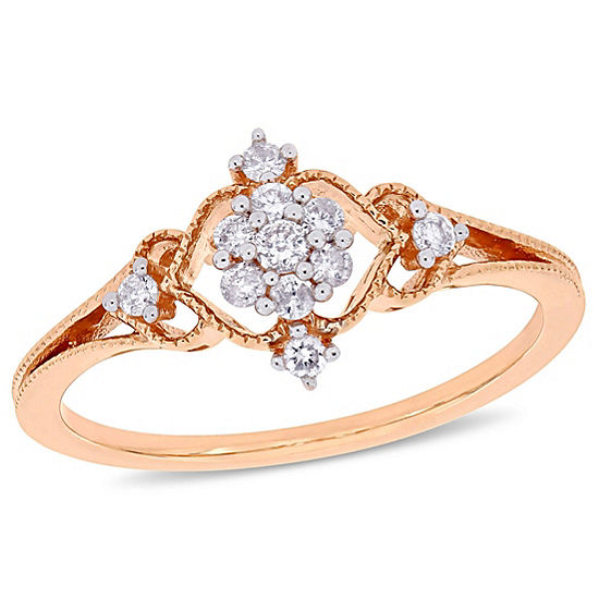 Womens 1/6 CT. T.W. Genuine White Diamond 10K Rose Gold Cluster Cocktail Ring