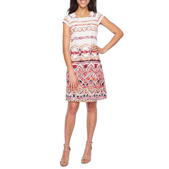 Ronni Nicole Short Sleeve Midi Bordered Shift Dress