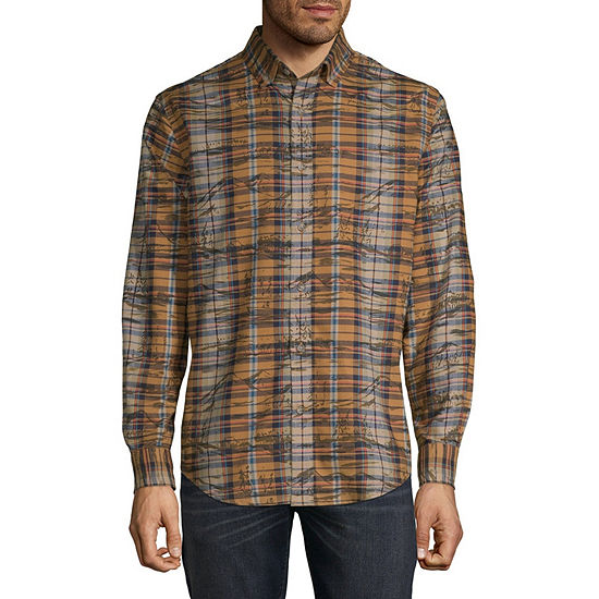 St. John's Bay Slim Mens Long Sleeve Plaid Button-Down Shirt