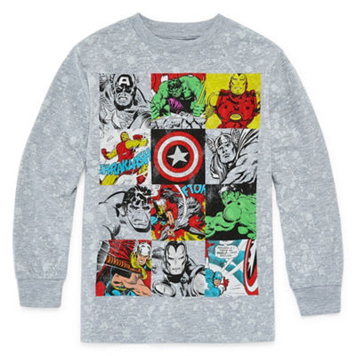 Boys Crew Neck Long Sleeve Marvel Graphic T-Shirt Preschool / Big Kid