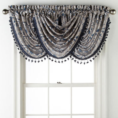 JCPenney Home Hilton Damask Rod-Pocket Waterfall Valance