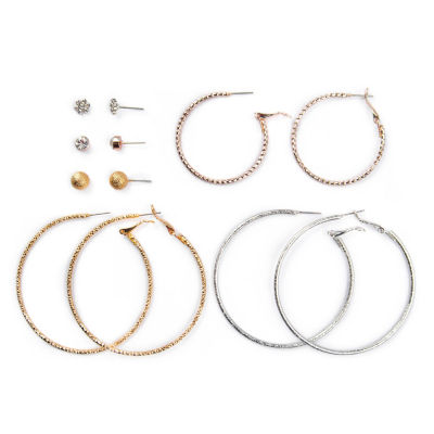 Arizona 6 Pair Clear Earring Set