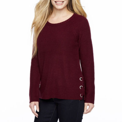 a.n.a Long Sleeve Scoop Neck Pullover Sweater-Petite
