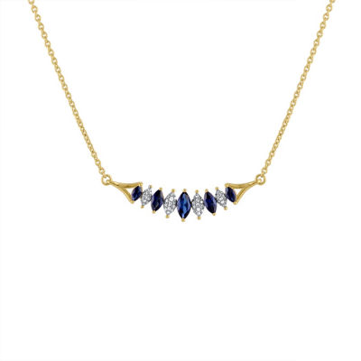 Womens 1/10 CT. T.W. Genuine Blue Sapphire 10K Gold Pendant Necklace